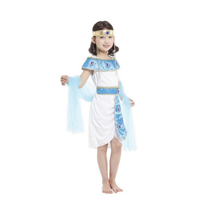 Vestido de princesa de Egipto disfraz de cosplay para niños y niñas + chal para fiesta de Halloween