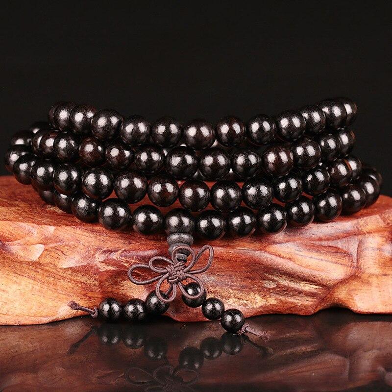 6mm 8mm 10mm 12mm * 108 cuentas de ébano madera Buda Budista para meditar y rezar mala hecho DE CUENTAS pulsera mujeres hombres joyería de Yoga