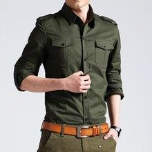 Hommes chemises militaires 2018 automne à manches longues chemises décontractées Camisas mince solide Homme coton chemises Chemise Homme grande taille 4XL 50
