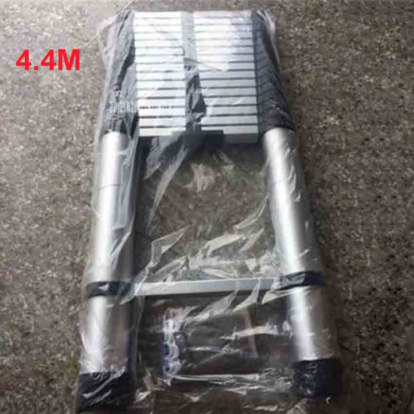 4.4M DLT-A Household Extension Ladder Aluminum Alloy Thickened Straight Ladder Single-sided Ladder Folding Engineering Ladder
