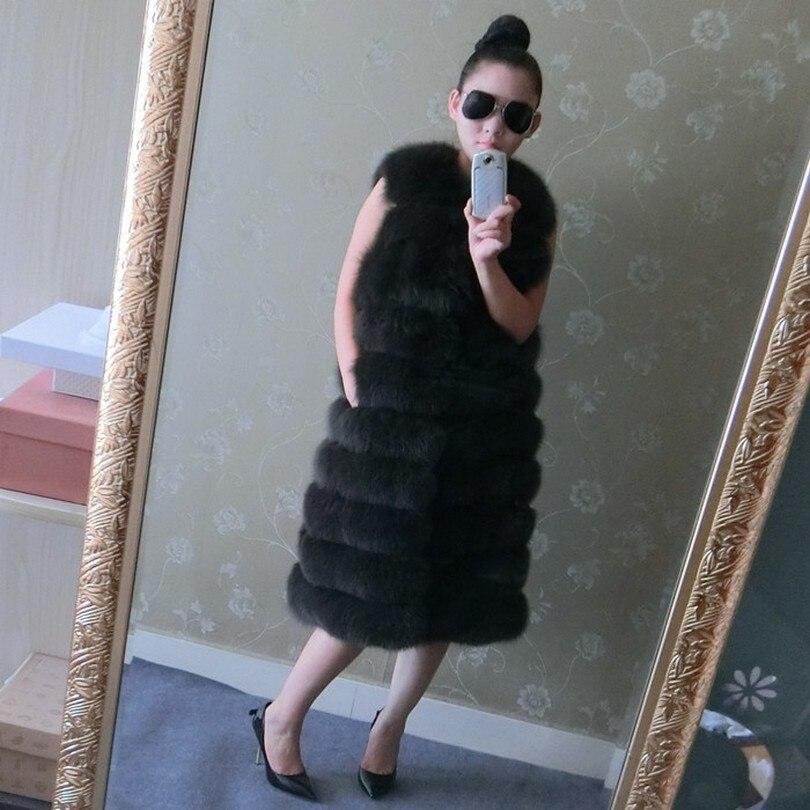 LIYAFUR Women's 100% Real Genuine Full Pelt Blue Fox Fur 90cm X-Long Sleeveless Vest Waistcoat Gilet XXXXL Plus Size Custom Made