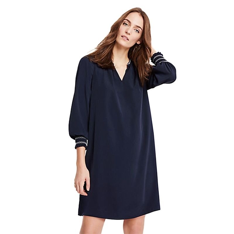 Azul oscuro lattern manga V cuello rodilla longitud recta vestidos mujeres damas Bohemia casual oversize suelta túnica vestidos