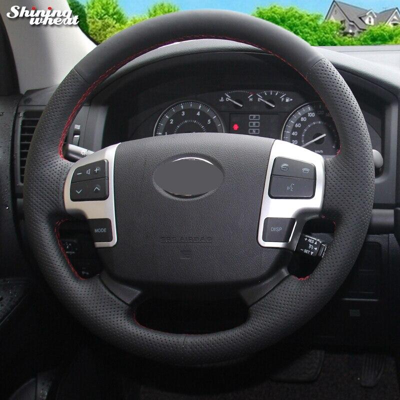 BANNIS de cuero negro protector para volante de coche para Toyota Land Cruiser 2008-2015 Tundra 2007-2013 Sequoia 2008-2011