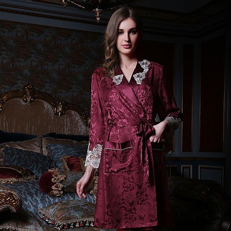Chinese Pure Silk Robe Female Long-Sleeve 100% Silk Sleeping Robe Sleepwear Bathrobe Dressing Gown Silk Kimono Homer 13166