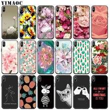 YIMAOC beauté des fleurs de pivoine étui pour iphone 11 Pro XS Max XR X 6 6S 7 8 Plus 5 5S SE 10 couverture noire