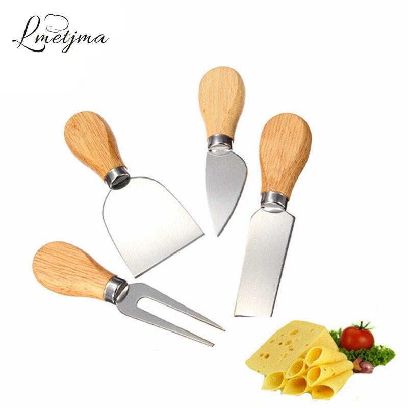 LMETJMA 4 шт./компл. Набор ножей для сыра из нержавеющей стали сырный деревянная ручка