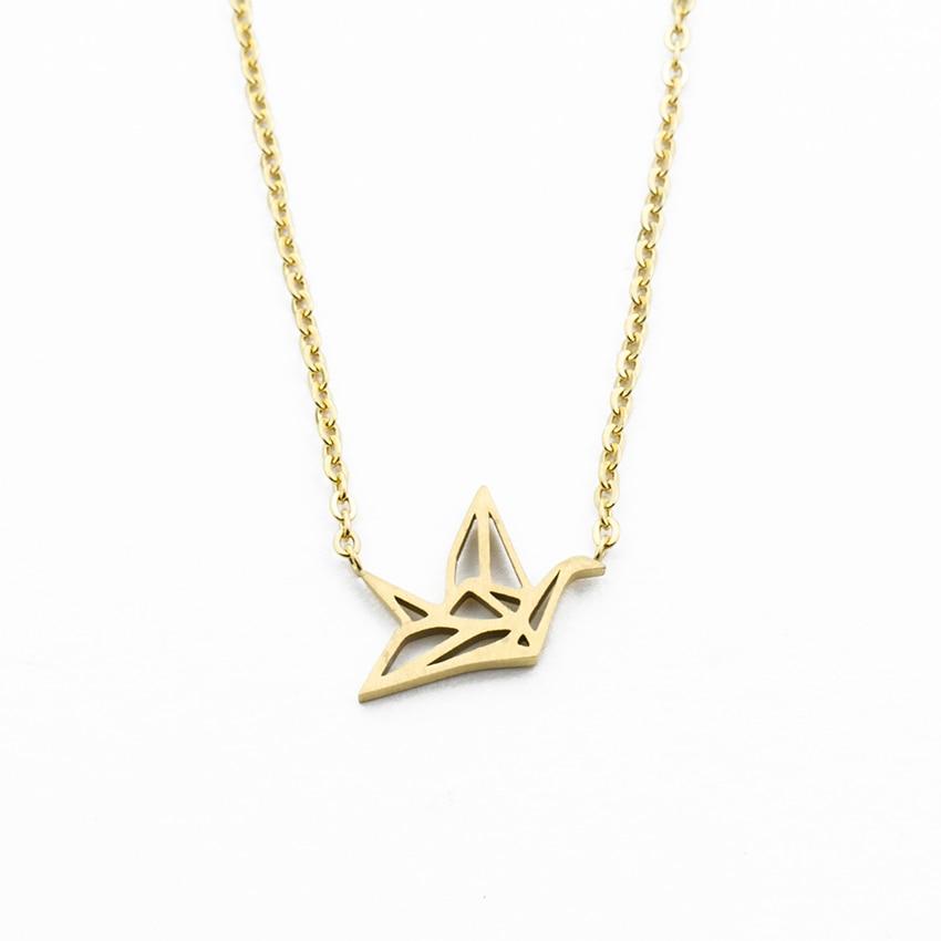 10PCS Delicado Pássaro de Origami Papel Guindaste Guindaste Colares mulheres Cadeia Clavícula Pigeon Pingente Colares & Pingentes Collares Mujer
