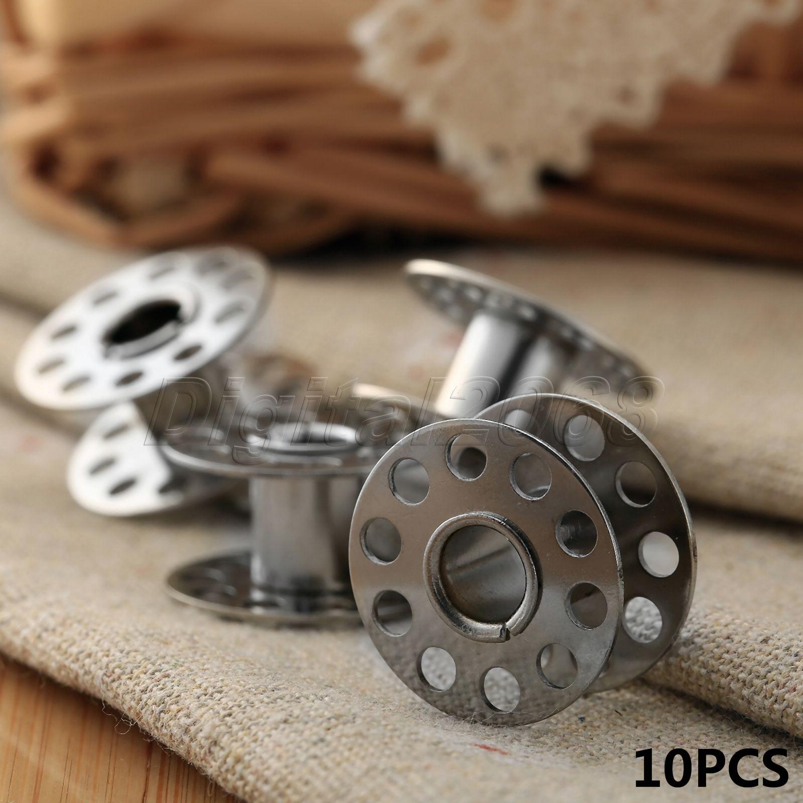 10 Uds bobinas para máquina de coser carrete para Brother Janome máquina Singer Elna Bernina Metal inoxidable Toyota Craft herramientas al por mayor