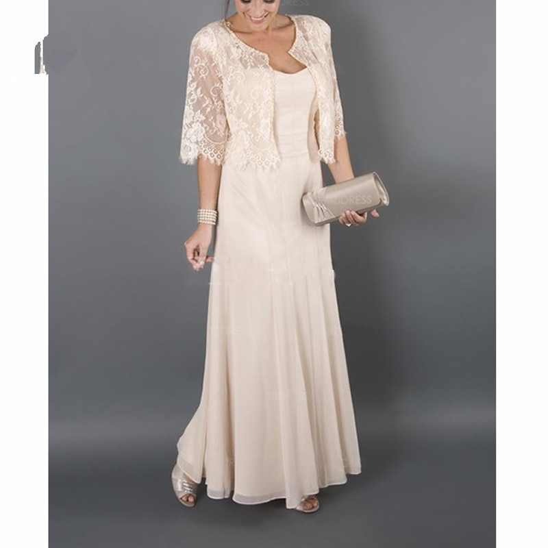 2021 Plus size Elegant Mother of the Bride Dresses With Jacket Lace Chiffon For Weddings Evening Party Dress свадебное платье