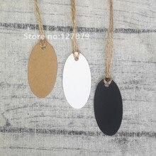 Etiquettes ovales simples en papier Kraft   100 pièces, 6.5x3.3cm, marron blanc, ornements de cadeau de mariage, étiquette suspendue de prix en papier Kraft avec corde