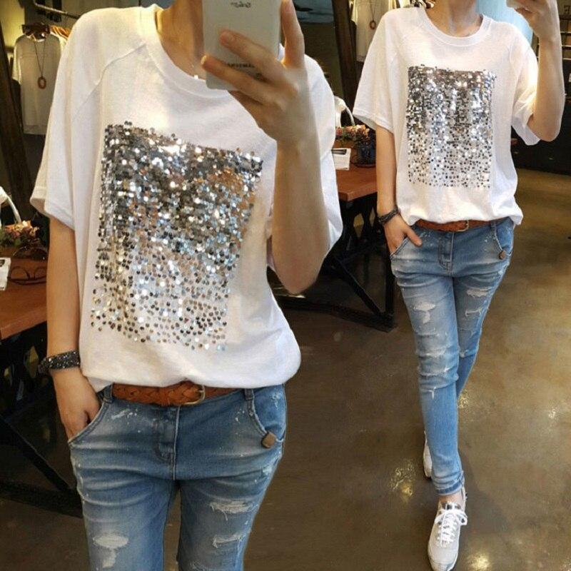 Verano 2019 nueva versión coreana de la talla grande suelta algodón lentejuelas bambú algodón blanco femenina de manga corta fitness