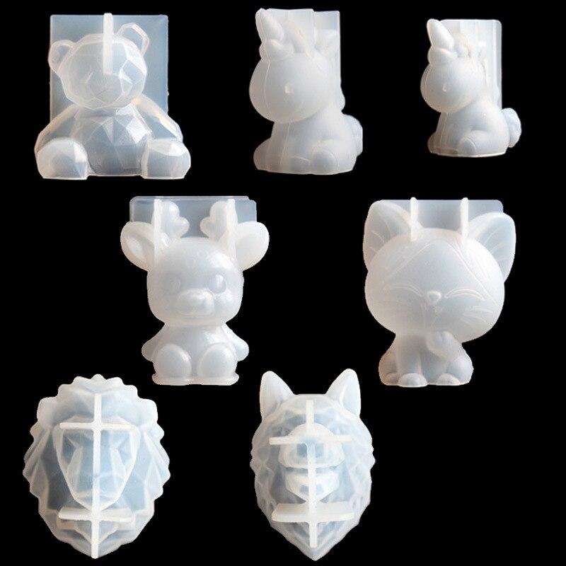 Ocho gota de cristal de goma de mascar en tres dimensiones molde geométrico, con oso Licorne molde de silicona