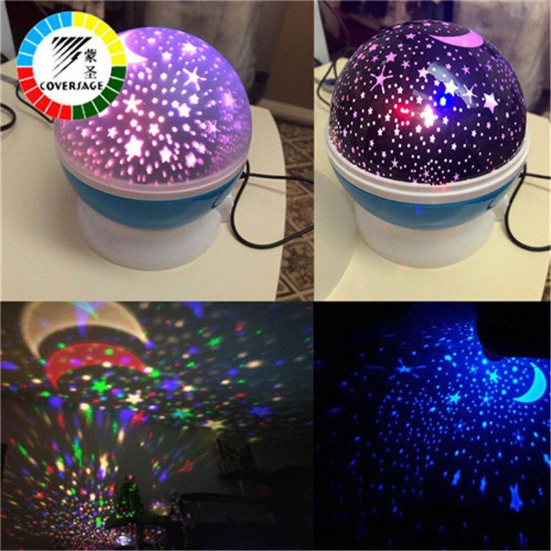 Coversage-proyector giratorio de luz nocturna para niños, lámpara de proyección Led con USB, giratoria, estrella del cielo