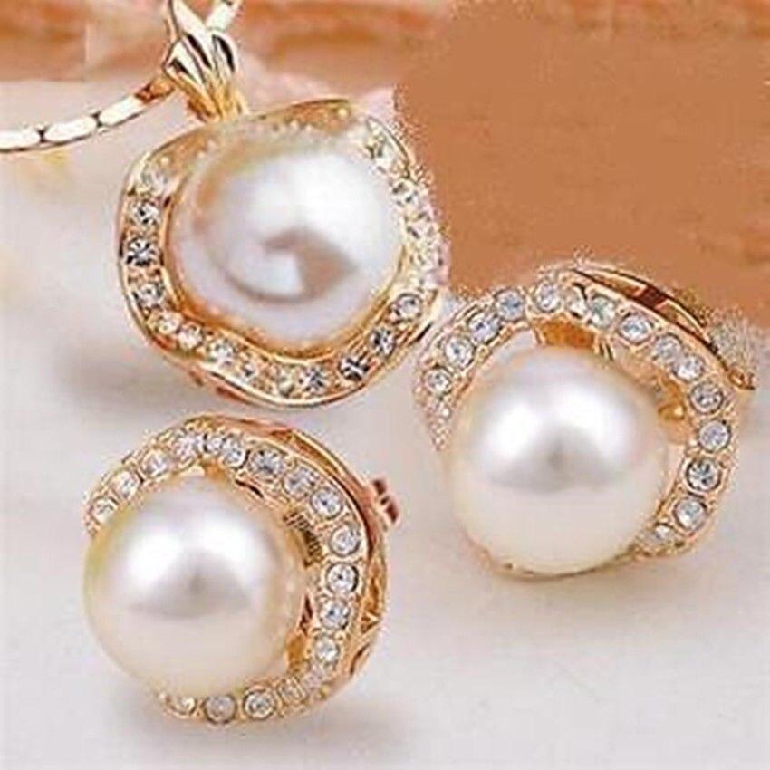 Venta caliente envío gratis **** conjunto de pendientes de collar de perlas blancas de joyería noble