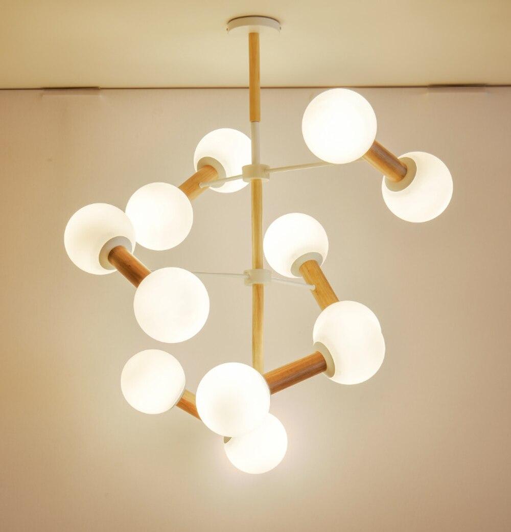 Nordic sala de estar suíte restaurante minimalista ramo e mutável lâmpada de madeira artística molecular vidro quarto lâmpada lu8101838