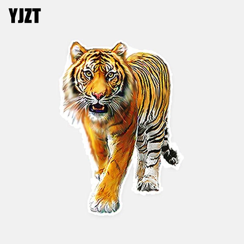 Adhesivo de ventana de coche YJZT, 10,2 CM x 15CM, personalizado, con tigre de Animal, adhesivo de ventana de coche, 5-0518