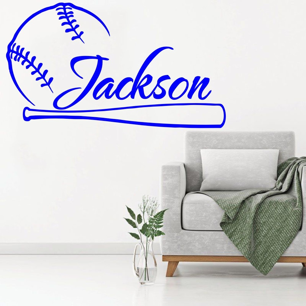 Наклейка на стену бейсбольная виниловая Спортивная наклейка индивидуальное имя для подростков детей мальчиков детская спальня домашний Д...
