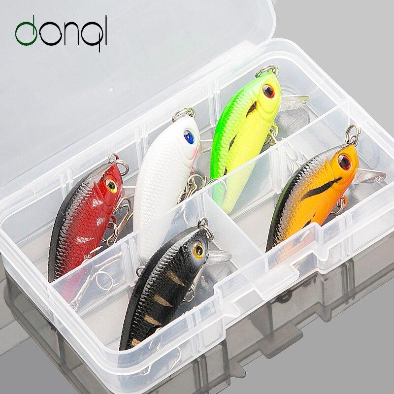 DONQL 5 pièces/boîte méné appât dur Wobblers appâts de pêche leurre 5 cm 3.6g appâts de bain artificiels avec boîte crochets pointus matériel Pesca