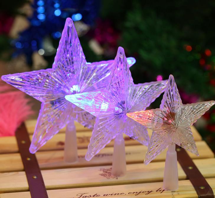 Pentagrama estrella LED árbol de Navidad Topper Hada luz Multi Color Flash botón alimentado por batería decoraciones para árboles de navidad regalo de regalo