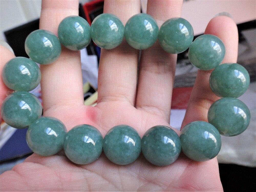 Natural genuino A jadeita Jade completo verde redondo brazalete pulsera