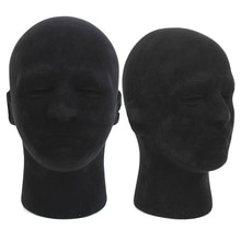 HOT SALE Polystyrene Black Foam Men Model Mannequin Head Dummy Stand Shop Display Hat, 2 x BLACK