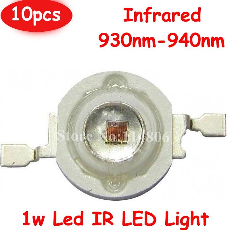 10 pçs/lote 120 Graus 1 W Chip de 45mil Infravermelho IR 930nm-940nm 600-700mA LED Diodos Talão de Luz para Câmera de Visão Noturna