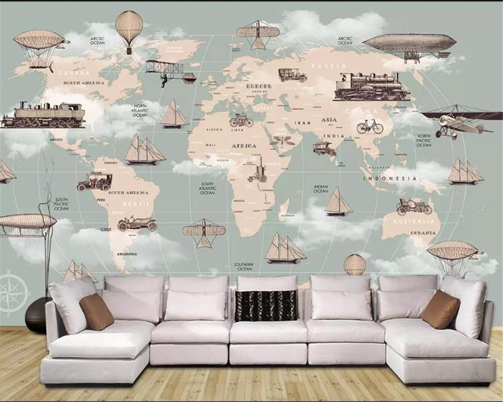 Beibehang personalizado crianças quarto papel de parede 3d dos desenhos animados mapa do mundo balão de ar quente veleiro fundo da parede 3d behang