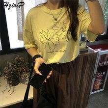 HziriP 2019 verano estampado moda floral mujeres suelto Casual algodón libre todo-fósforo breve fresco mangas cortas amarillo camiseta