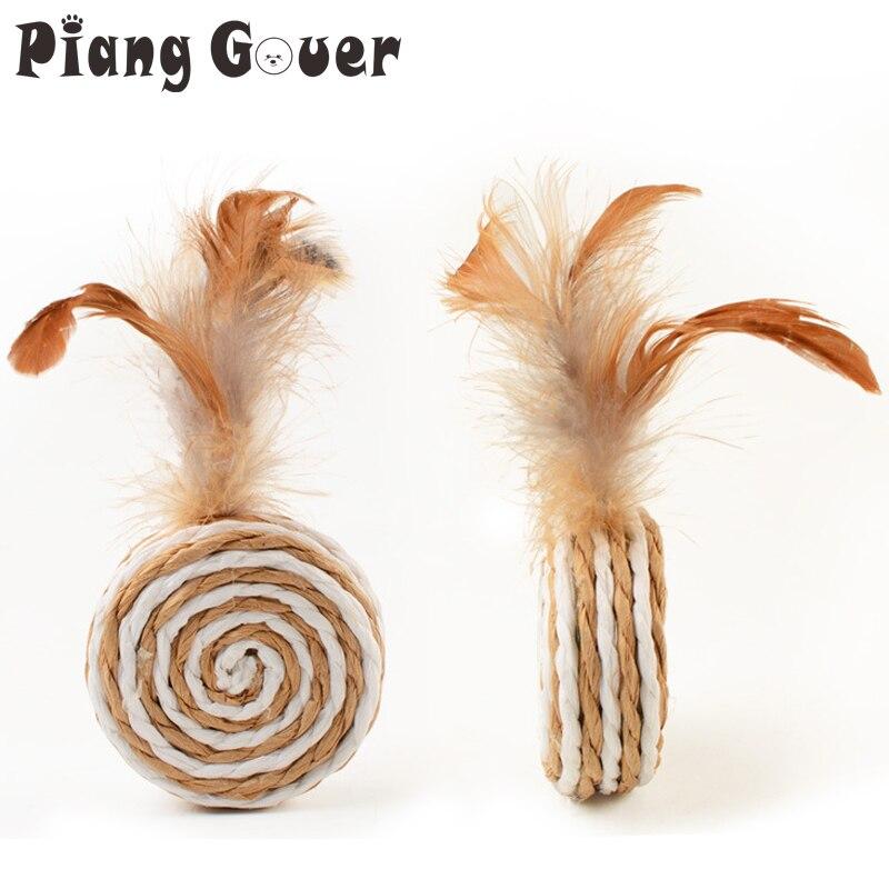 3 unids/lote Sisal pluma gato juguete Circular cuerda de cáñamo pluma juguetes para mascotas