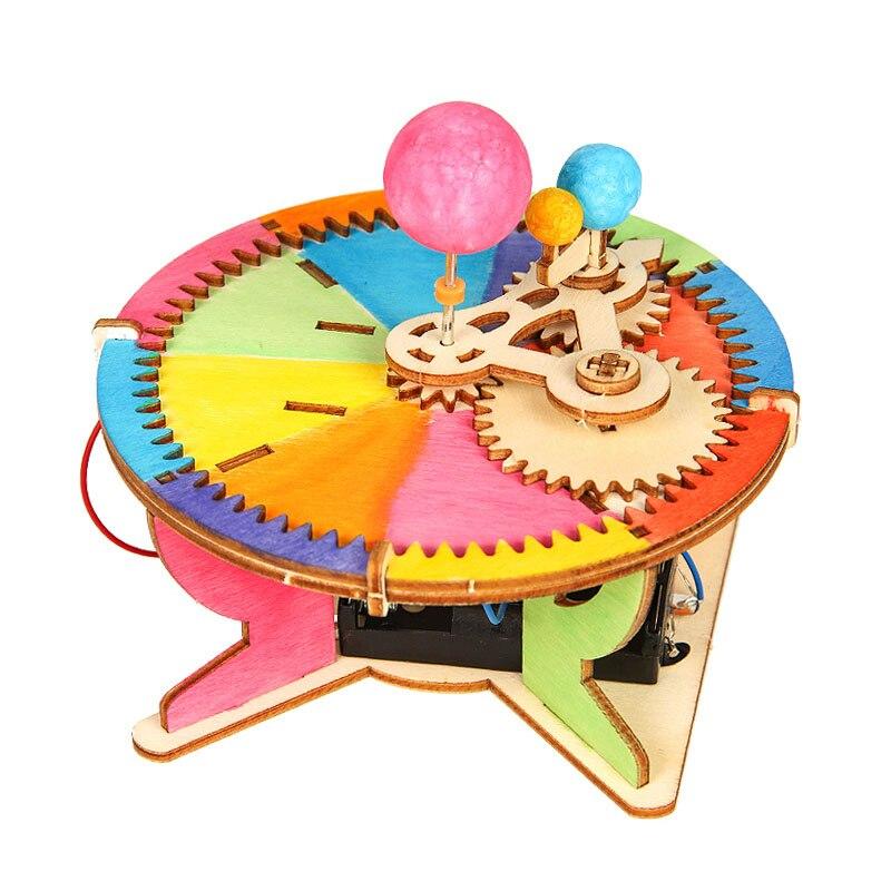 Juguetes Educativos de tallo para niños, juego de juguetes de tecnología de la ciencia, sistema Solar de Planeta, modelo de rompecabezas DIY, juguetes pintados para niños