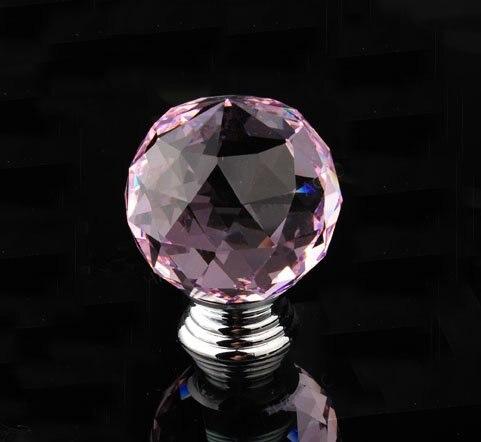 UNILOCKS 10Pcs/Lot Luxury K9 Crystal Glass Chrome Cabinet Cupboard Door Knob R6002(Diameter:30mm, Color:Pink )