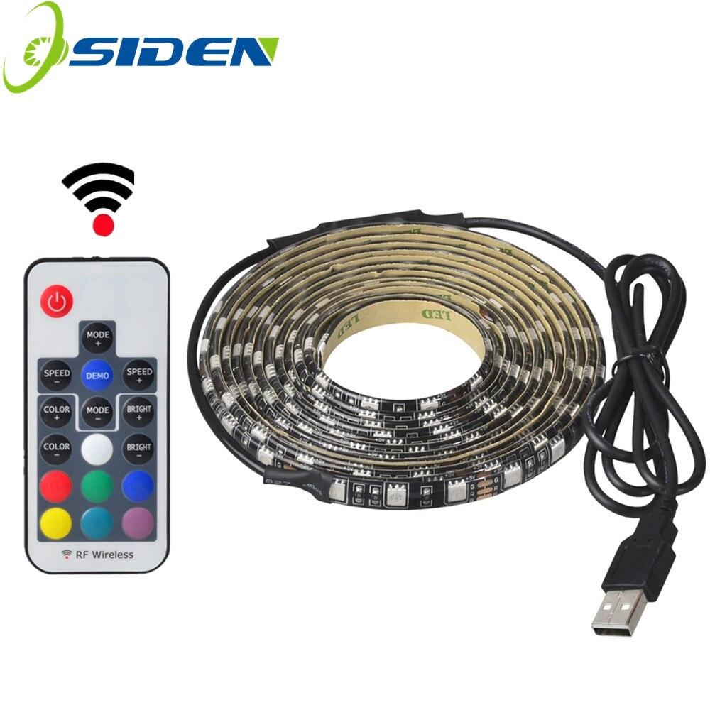 USB 5V 5050 RGB ленточный светильник 60led 1m 2m mini IR 24key RF 17key контроллер Черный PCB IP65 Водонепроницаемый RGB гибкий светильник