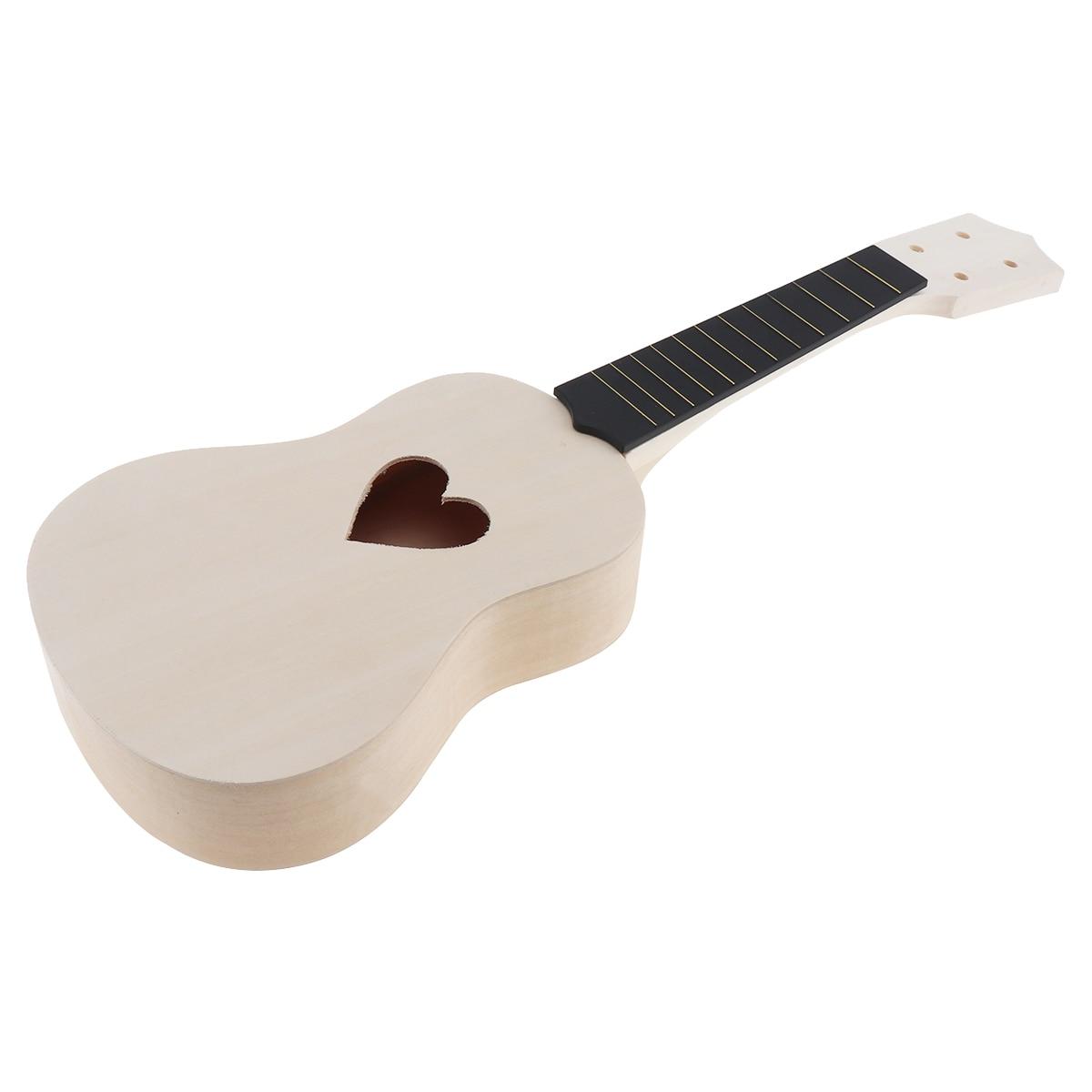 21 Inch Heart Shape Hole Soprano Ukulele DIY Kit Basswood Hawaii Guitar Handwork Painting Ukelele for Parents-child Campaign enlarge