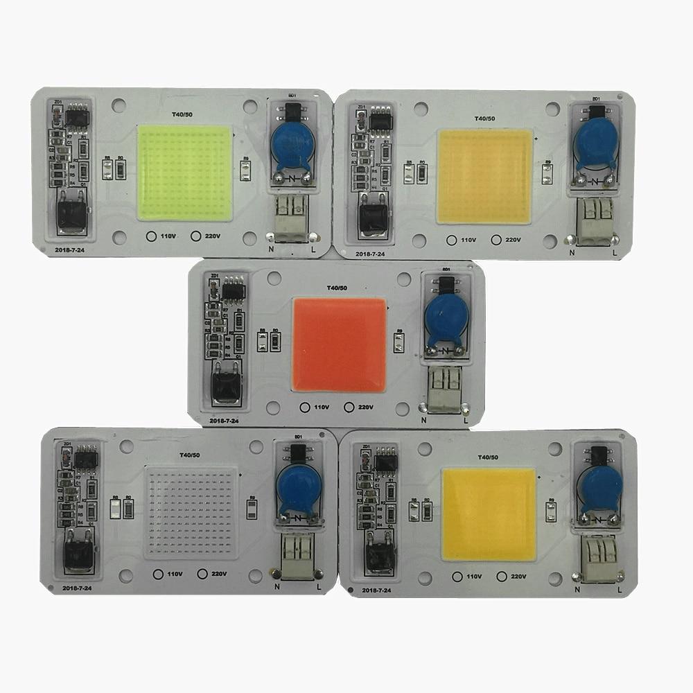 10 pièces 50 W 110 V 220 V COB haute puissance puce LED pilote intégré blanc LED, LED à spectre complet bleu Royal blanc chaud