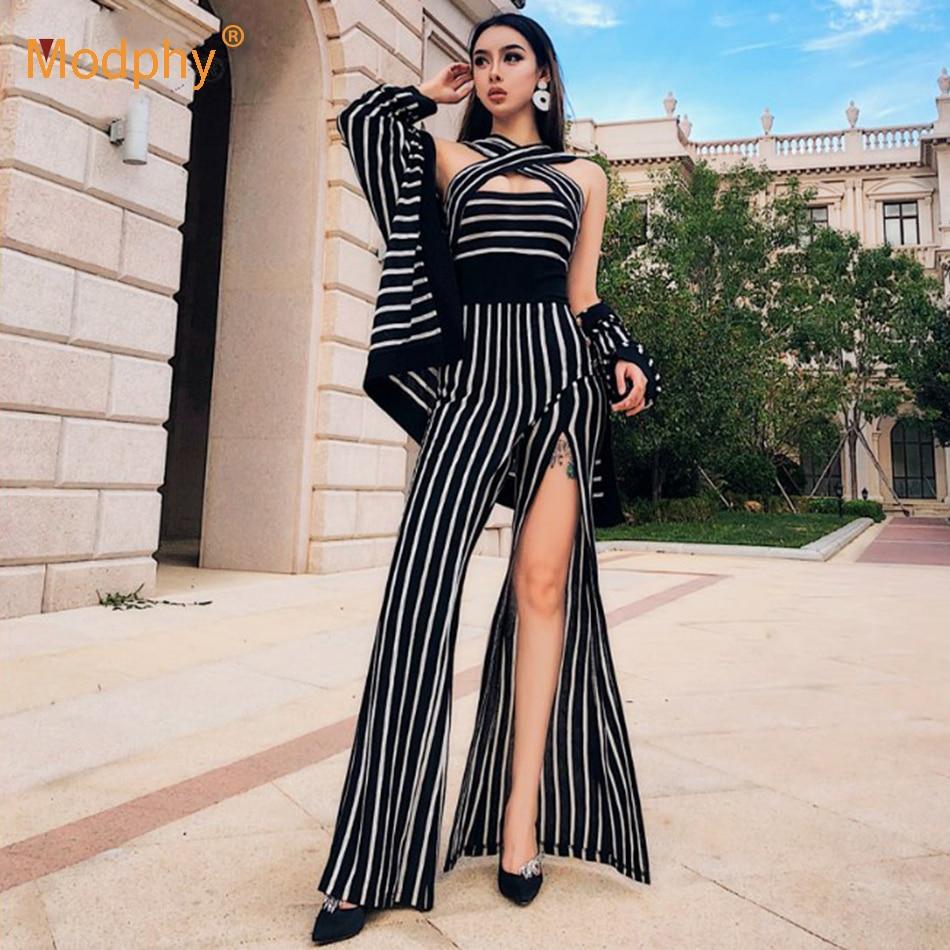 2018 nova verão terno das mulheres long-sleeved longa atadura macacão listrado & jacket 2 peças two-piece moda sexy vestido de festa