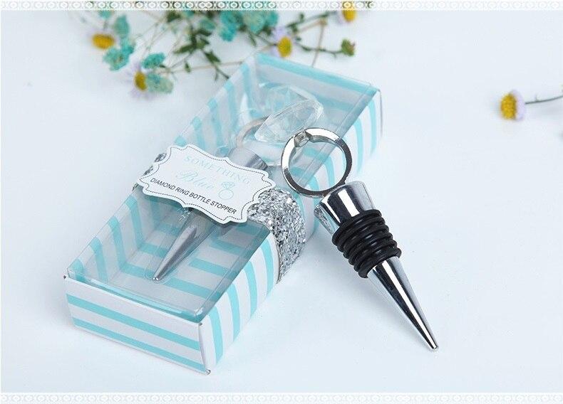 Anillo de diamantes de cristal metálico tapón de botella de vino para regalo de boda algo azul para decoración de boda W9337