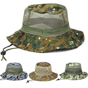 Men's Mesh Wide Brim Bucket Hat Camouflage Outdoor Hiking Fishing Camping Caps  HATCS0363