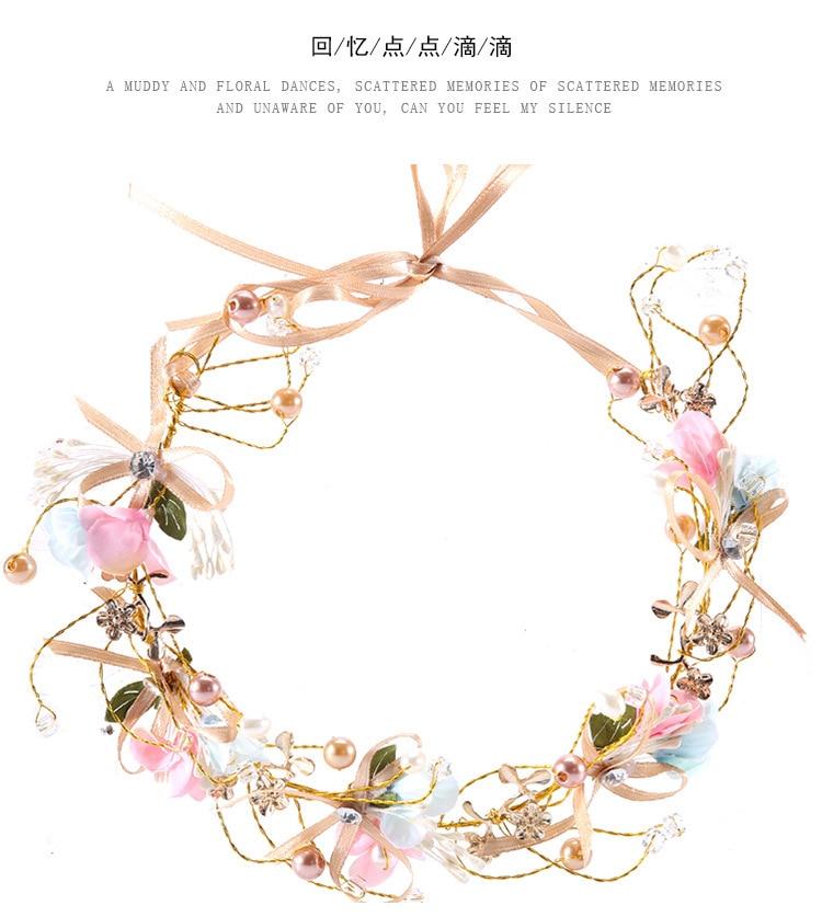 2018 new Hand bow flower head ornaments bridal wreath Korean Bridesmaid children wedding garland bride ornaments