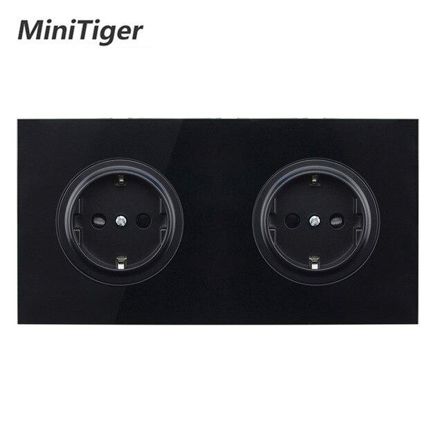 Minitiger cristal templado vidrio puro negro Panel 16A doble UE toma de corriente de pared estándar salida a tierra niño puerta protectora