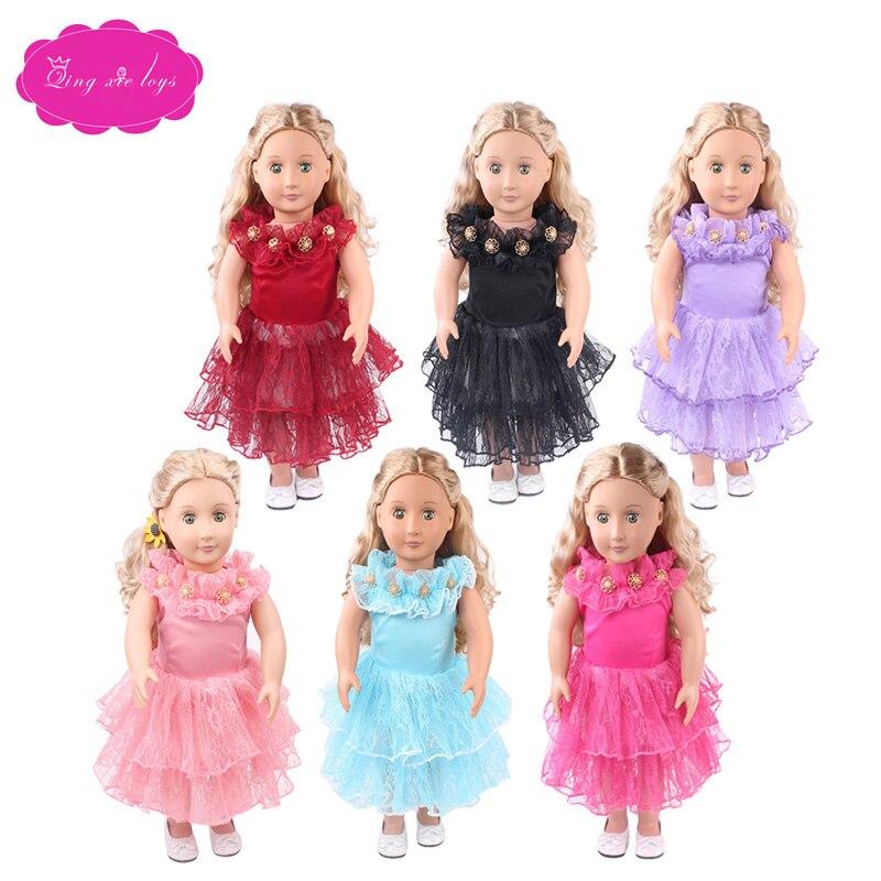 18 inch Girls doll dress Beautiful princess evening gown American newborn skirt Baby toys fit 43 cm baby dolls c426-c431