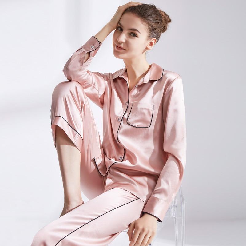 ملابس نوم حريرية حريمي 100% حرير 19 متر/شهر قطعتين لون خالص كم طويل ملابس منزلية