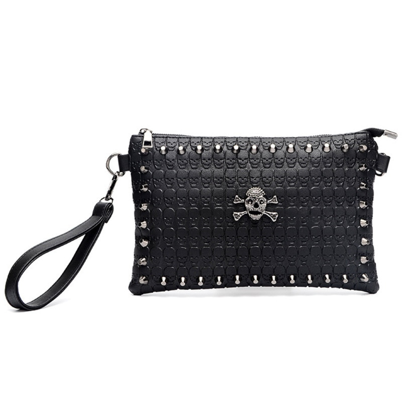 JIEROTYX Punk Shoulder Bags Women Sexy Skull Embossing Clutch Bag Black Leather Gothic Rivet Flag Bag Female Handbags Cheaper