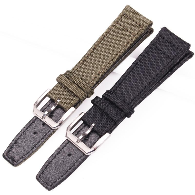 Ремешок для часов из нейлона и натуральной кожи, черный, зеленый, с стальной пряжкой для Iwc, 20 мм, 21 мм, 22 мм