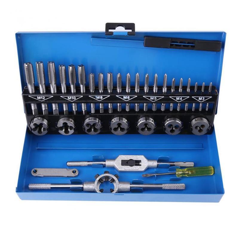 32 шт./компл. набор сверл из легированной стали, прочный метрический кран, набор сверл, ручные инструменты для профессиональной металлообраб...