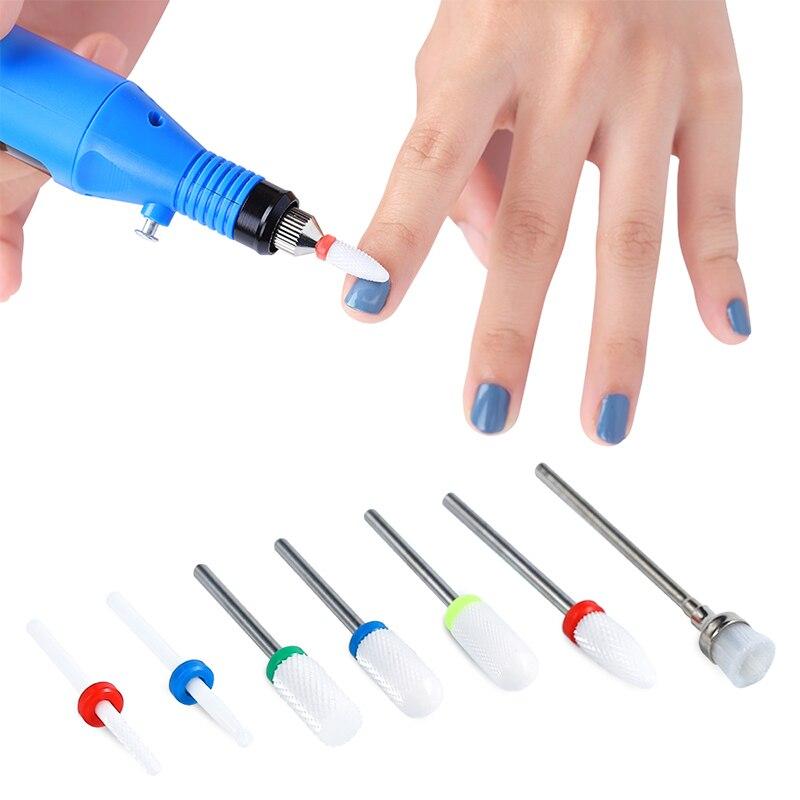 Lote de 7 unidades de brocas para uñas multifunción, para retirar las uñas en Gel, pulidoras y lijado de colores, diseños variados, accesorios Nail Art