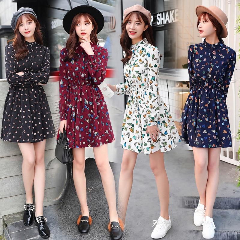 Women Summer Dress Long Sleeve Patchwork Chiffon Dress for Students Girls Slim A-Line Dress