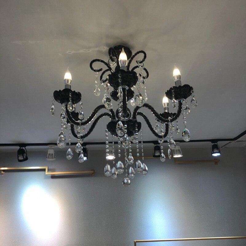 Náutica Bar cafetería tienda mini candelabro negro led lamparas 6/8 brazo comedor dormitorio Chicos vintage candelabros de vidrio Avize