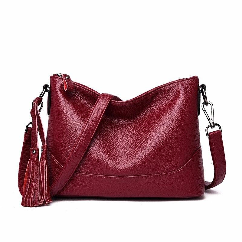 Bolsos de mano de piel de alta calidad 2019 para mujer, bandolera de cuero suave para mujer, bolsos Vintage para niñas