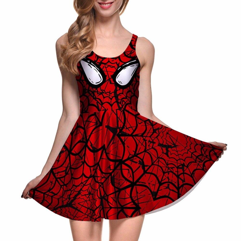 Vestido de verano para mujer estampado Digital rojo Spider-Man vestidos sin mangas Vestido de playa caliente Drop Shipping