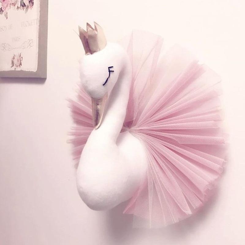 Animal Head Swan Flamingo Wall Decor INS unicorn Bear Hanging Mount Stuffed Plush Toy Princess Doll Girl Kid Gift Nursery Room